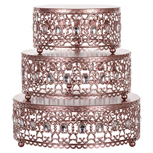 Amalfi Décor 3-Piece Cake Stand Riser Set, Rhinestone Crystal Gem Dessert Cupcake Display Pedestal Jeweled for Weddings Events Birthdays Parties Food Tower Plate (Rose -