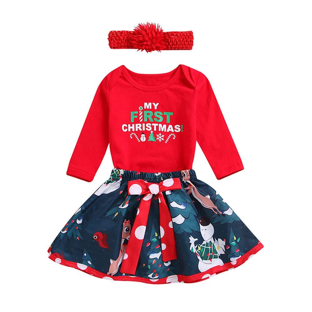 Ropa Navidad Disfraz Niña Bebe Fossen Recién Nacido Bebé my First Christmas Monos Tops + Falda Corta Patrón de Árbol de Navidad y Santa Claus + Diadema