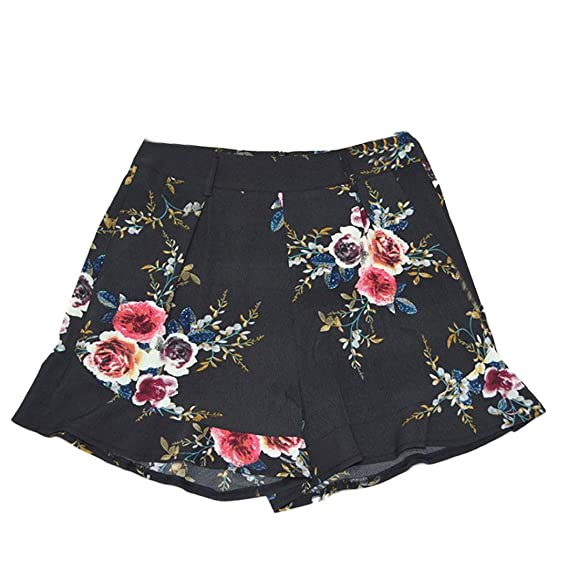 7690c5d3c5 Brezeh Women Summer Shorts, Women Ladies Floral Printed Skirt Short Pants  Drawstring High Waist Casual Loose Wide Leg Pants Knee Length Summer Beach  Shorts: ...