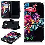Galaxy A8 Plus 2018 Wallet Case,PU Leather Cover for Samsung A8 Plus 2018,Leecase Retro Cool Pretty Pink Flamingo Butterfly Flower Fruit Pattern Design Flip Stand Phone Case Cover Wallet Handset Shell Bookstyle Cellphone Skin Pouch with Magnetic Closure Card Slots Folio Protective Pocket Bumper Cover Skin for Samsung Galaxy A8 Plus 2018 + 1x Black Stylus