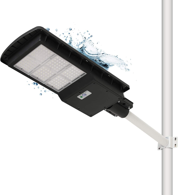 Solar Street Light 300W, LED Outdoor Solar Street Light Waterproof Safety IP67, Solar Wall Light high Brightness, Used in Parking Lots, garages, courtyards, Black