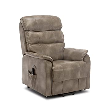 8d860fd463a More4Homes BUCKINGHAM DUAL MOTOR ELECTRIC RISE RECLINER BONDED LEATHER  ARMCHAIR SOFA MOBILITY CHAIR (Stone)