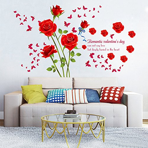 DecalMile Red Rose Removable Wall Stickers Removable Flower Wall Decals Bedroom Living Room Wall Art - Decal Roses