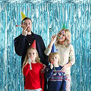 3Pcs 3.2ft x 8.2ft Light Blue Metallic Tinsel Foil Fringe Curtains for Halloween Party Bachelorette Birthday Wedding Baby Shower Engagement Holiday Party Decorations – Party Photo Backdrop
