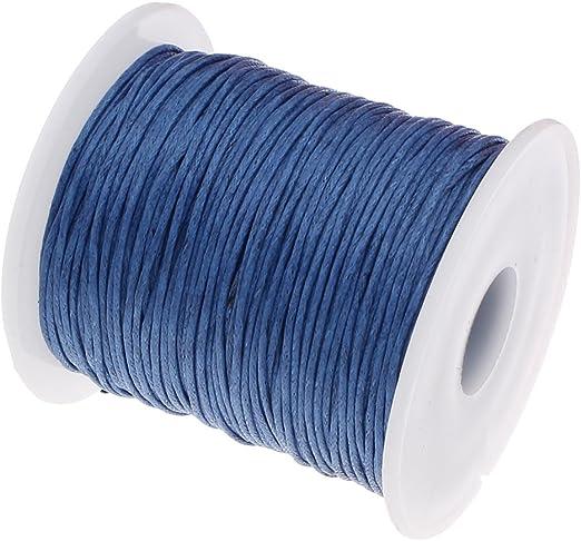 Perlin - Cordón de algodón encerado, 75 m, de color azul zafiro, 1 mm, cuerda para joyas, hilo de algodón de cera, cinta para perlas y joyas C284: Amazon.es: Juguetes y juegos