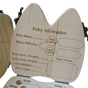 Boy /& Girl Wood Baby Tooth Deciduous Souvenir Box for Baby Milk Teeth Collection