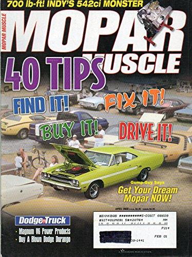 Racing Car Magazine Indy (Mopar Muscle April 2000 Magazine DODGE TRUCK: MAGNUM V6 POWER PRODUCTS, BUY A BLOWN DODGE DURANGO 700lb-ft! Indy's 542ci Monster GET YOUR DREAM MOPAR NOW!)
