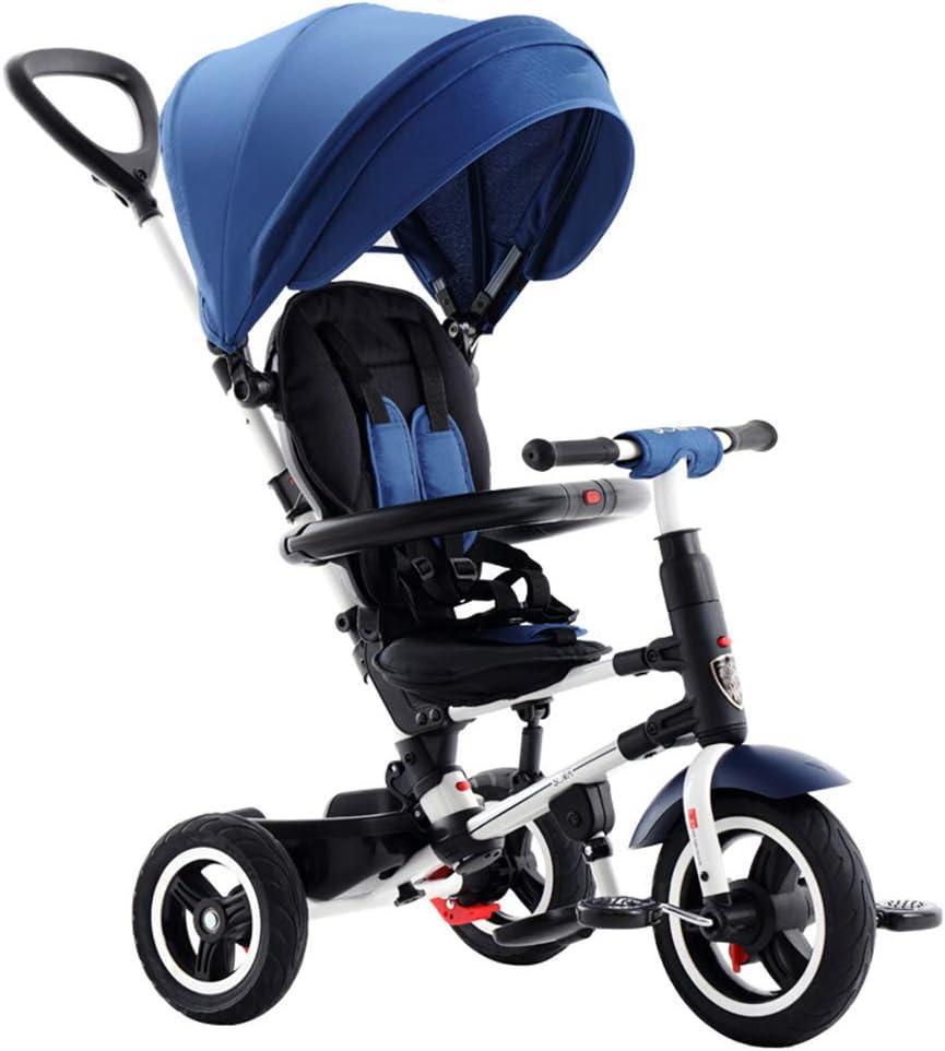 HBSC 3 EN 1 Triciclo para Baby niños Carro de Bebe, Marco Plegable, Suave y cómodo paño Oxford 600D, Adecuado para bebés de 1-6 años 1bicycle Regalo Blue2
