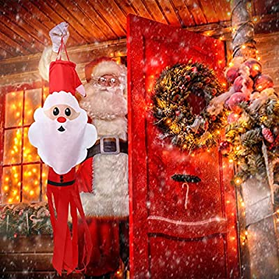 Aneco Christmas Windsock Santa Claus Windsock Flag 47.2 Inches Winter Windsock Hanging Decorations Includes Hanging Clip for Indoor Balcony Outdoor Yard Lawn Garden Party : Garden & Outdoor