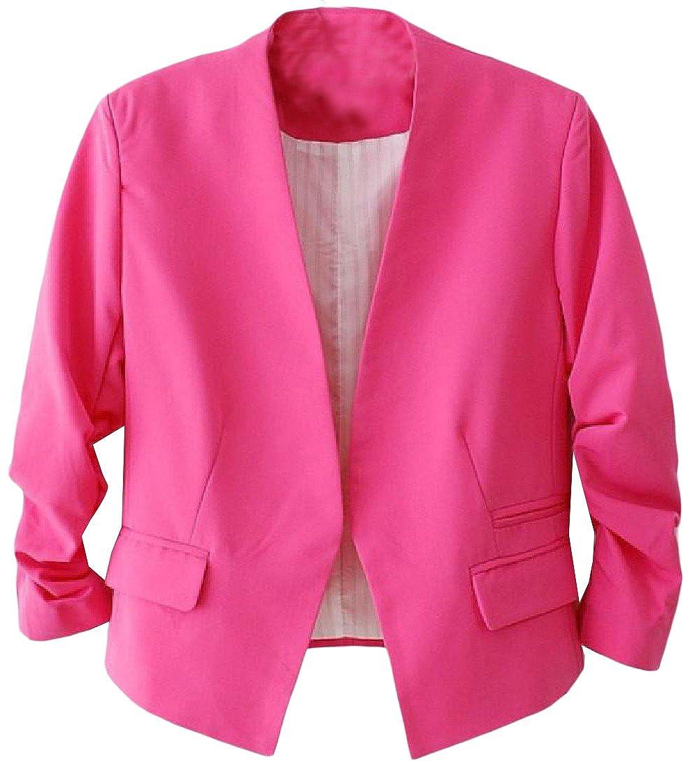 Tootlessly-Women Basic Work Office Solid Color Suit Jacket Blazer Coat