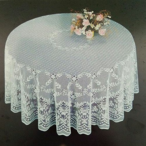 Lace Round Tablecloth - Fine White Lace Tablecloth in 90