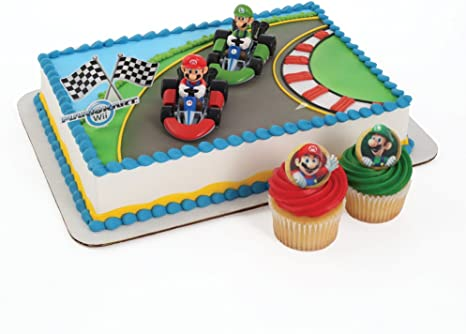 Amazon Com Super Mario Cake Topper And 24 Cupcake Topper Rings