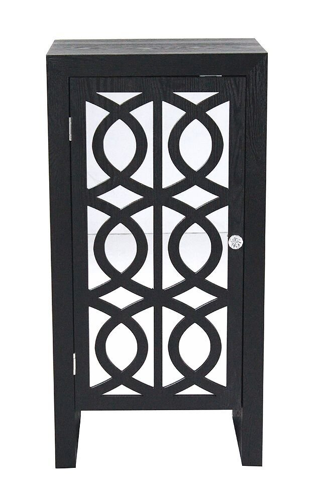 Heather Ann Creations The Ellington Collection Modern Style Wooden Mirrored Single Door Bedroom Accent Storage Cabinet, Black