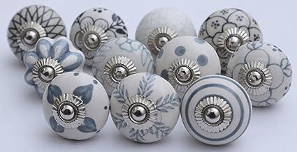 10 Grey Black And White Ceramic Knobs Handmade Kitchen Cabinet Drawer Pull Ceramic Door Knobs