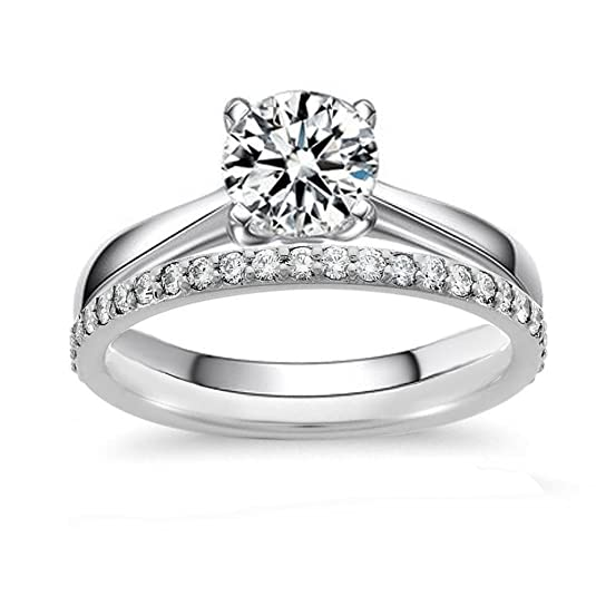 Review Venetia Hearts & Arrows Top Grade 2.0 Carats Simulated Diamond Solitaire Ring Band Set 925 Silver