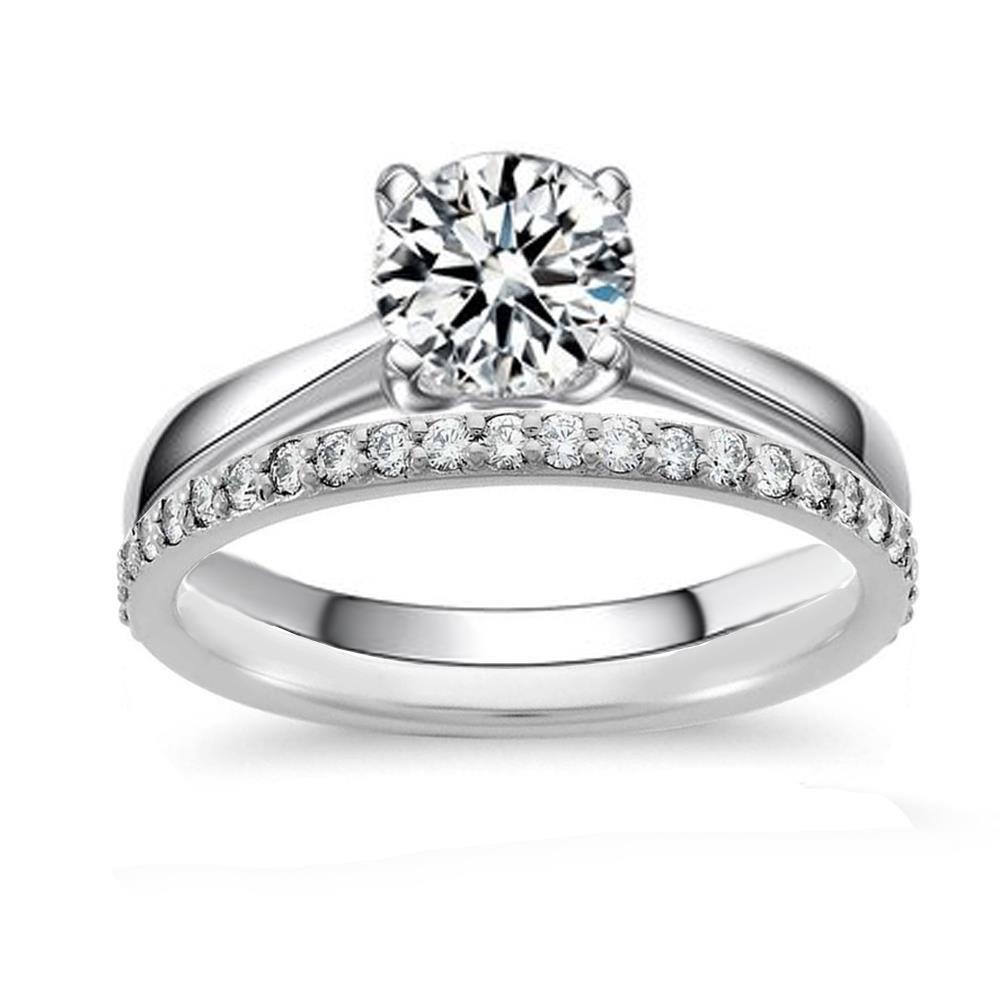 Venetia Hearts & Arrows Top Grade 2.0 Carats Simulated Diamond Solitaire Ring Band Set 925 Silver soliset5