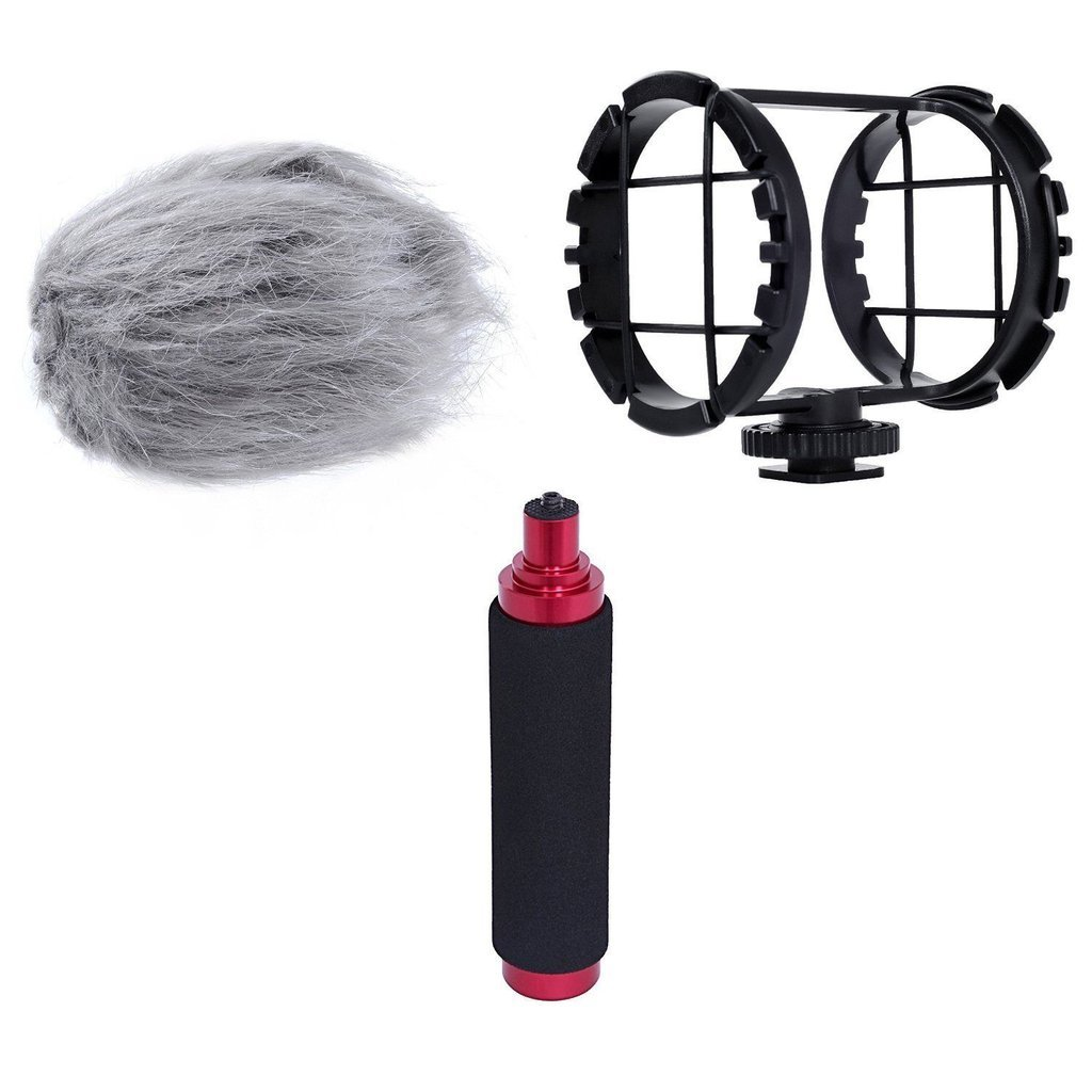 Movo AEK-Z1 Accessory Kit for the Zoom H1 & H1n Handy Recorder (Includes Shockmount, Camera Shoe, Furry Windsceeen & Hand Grip) by Movo