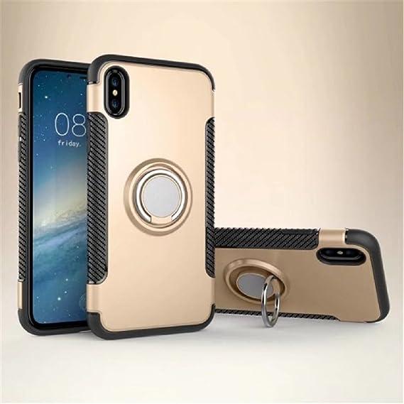 Case for Iphone 8/7 funda protectora anillo de rotación de 360 grados función atril cubierta protectora funda metalizada para iPhone 8/7 (BLACK, ...