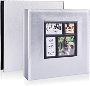 Photo Picutre Album 4x6 500 Photos, Extra Large Capacity Leather Cover Wedding Family Photo Albums Holds 500 Horizontal and Vertical 4x6 Photos with Black Pages (Silver)