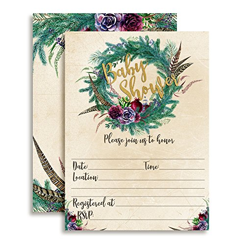 Rustic Boho Watercolor Succulents, Pine, and Feathers Wreath Baby Shower Invitations, 20 5