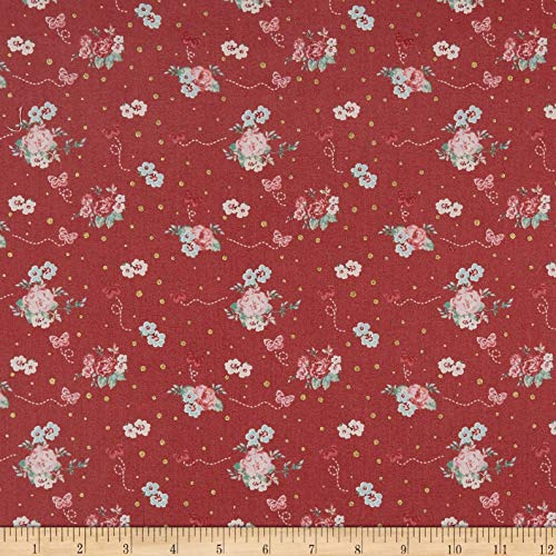 - Lecien Woodland Rose Tossed Bouquets Fabric, Red, Fabric By The Yard