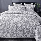 Bedsure 3pc Zipper Closure Queen Duvet Cover Set, Gray White Paisley Deal (Small Image)