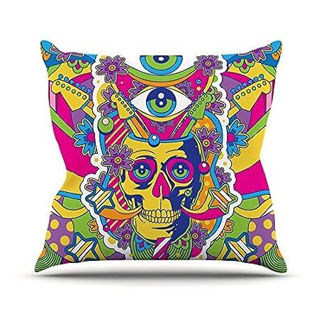 20 by 20 Rainbow Illustration Kess InHouse Roberlan Skull Throw Pillow
