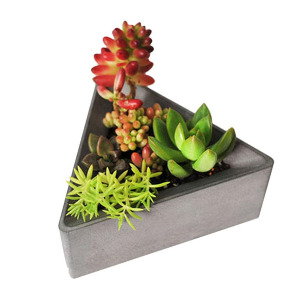 PROKTH Triangle DIY Garden Planter Silicone Molds Concrete Molds Flower Pot Candle Soap Bottle Multi Succulents Plants Cement Planter Mold Home Decorate