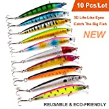 DTalent Crankbait Fishing Lures Minnow Swimbaits Jigs Wobbler Tackle Artificial Hard Pike Baits Popper Treble Hook 10 Pcs/Lot Kit Shad Topwater Saltwater Freshwater Lead Ice Bass Trout Carp