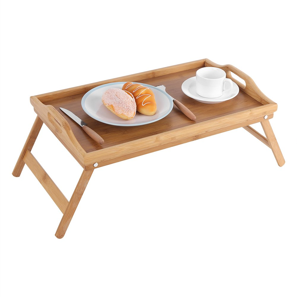 Amazon.com - Bed Tray, Portable Bamboo Wood Bed Tray-Laptop Desk-Serving Table With Folding Leg for Tea food Breakfast(19.7x11.8Inch) -