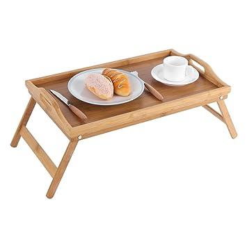 Bandeja de cama, portátil, de madera de bambú, bandeja para ordenador portátil,
