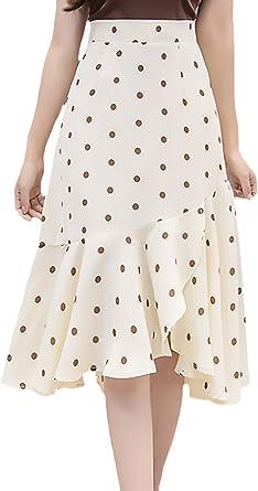 Faldas Verano Mujer Elegantes Vintage Fashion Lunares Cintura Alta ...