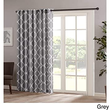 Amazon.com: 1pc 84 Grey Color Geometric Sliding Door Curtain, Gray Sliding  Patio Door Panel Window Treatment Single Panel, Lattice Design Contemporary  ...