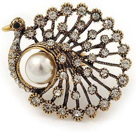 Large Vintage Diamante 'Peacock' Ring In Antique Gold Metal - 4.5cm Diameter