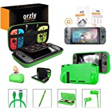 Switch Accessories, Orzly Essentials Pack for Nintendo Switch (Bundle Includes: Glass Screen Protectors, USB Charging Cable, Console Pouch, Cartridge Case, Comfort Grip Case, Headphones) - Green