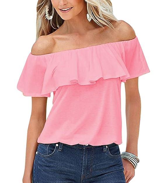 Blusas Fiesta Mujer Del Color Solido De La Fuera Del Hombro Floja Camisas Y Blusas Pink