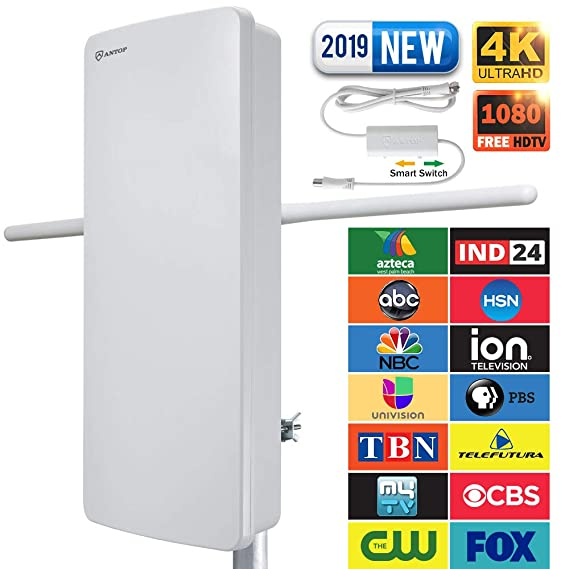 Outdoor TV Antenna - ANTOP 400-BV Amplified Flat Antenna with Noise-Free 4G Filter for VHF Enhanced, 70 Miles Multi-Directional Long Range Reception, 39ft Detachable Coaxial Cable, Waterproof