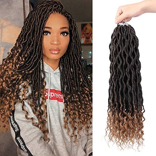 Beauty : AisiBeauty 20 inch Curly Faux Locs Soft Hair Deep Ends 6Pcs/Lot Goddess Locs Crochet Hair Synthetic Braiding Hair Extension (27J)