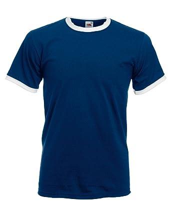 0a22b39c Fruit of the Loom Men's Ringer T Shirt Small Navy/White
