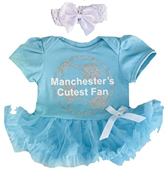 cc38ef36c7a Little Secrets Childrens Clothing Baby Girl s Manchester Football Light  Blue Tutu Romper with Headband