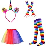 LUOEM Rainbow Tutu Ruffle Skirt Set Unicorn Headdress Thigh High Socks Fingerless Gloves Party Supplies for Children (Iridescence)