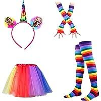 LUOEM Serre Tête Licorne Jupe Tutu Chaussettes Hautes Rayées Multicolores et Gants Longs Déguisement Licorne Femme Costume Licorne
