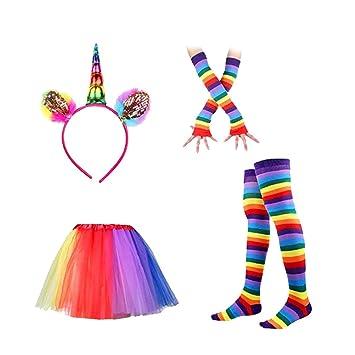 LUOEM Diadema Cuerno Unicornio Falda de Tutú Colores Calcetines Largos Rayas Guantes Largos Disfraz Unicornio Mujer