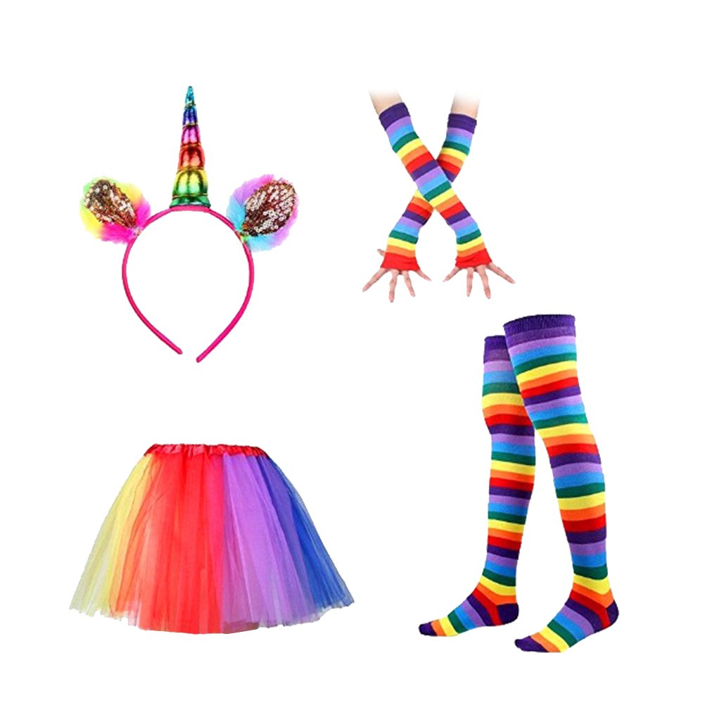 LUOEM Rainbow Tutu Skirt Suit Cosplay Costume with Headband Arm Warmer Leg Stocking Ruffle Tiered Tutus Dress For Kids Girls Carnival Party