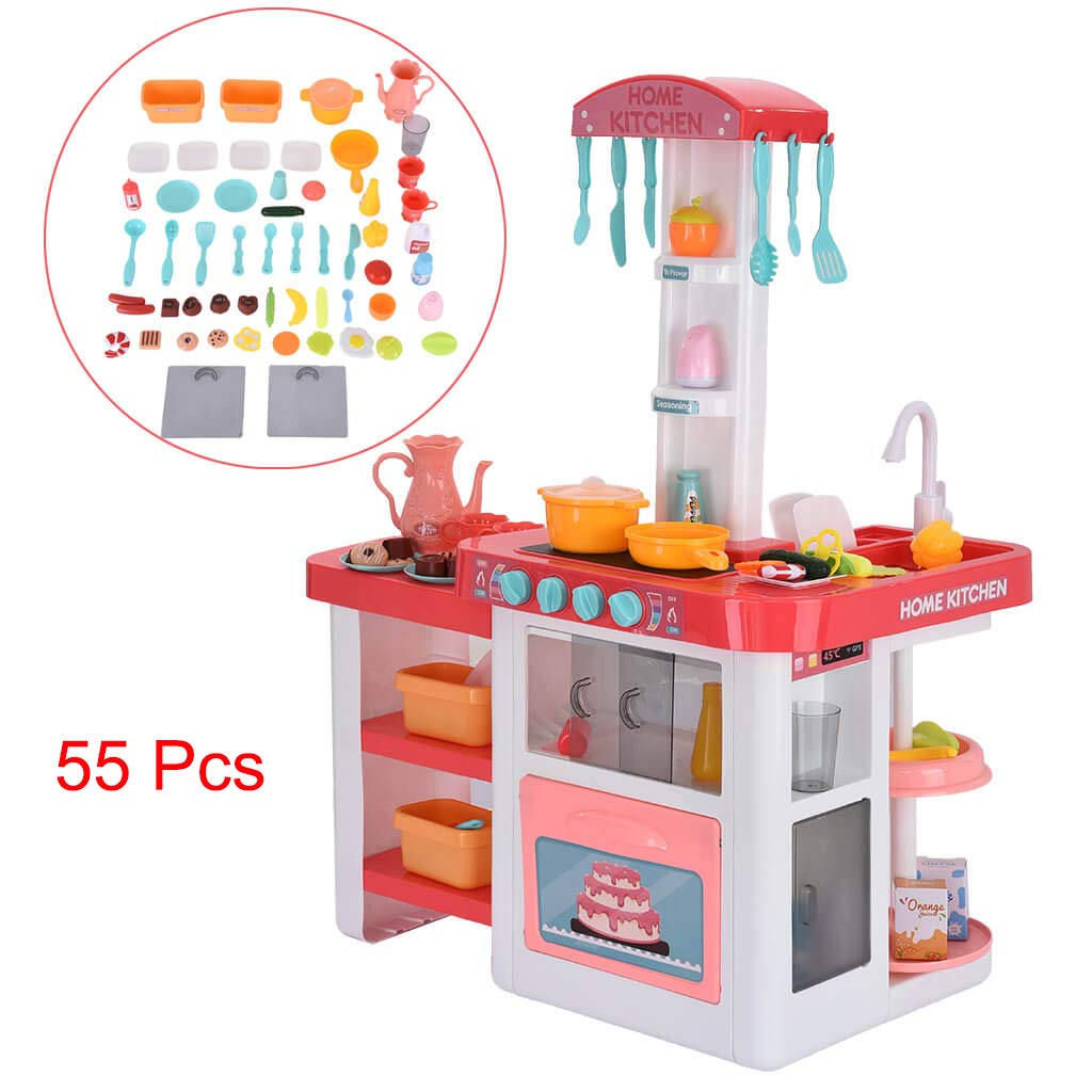 Auwish Kids Kitchen Playset | Toddlers Boys Girls Plastic Play Vintage Kitchen Accessories Working Table with Realistic Light Sounds (Pack of 55 Toys Kitchen Set, Multicolor) by Auwish