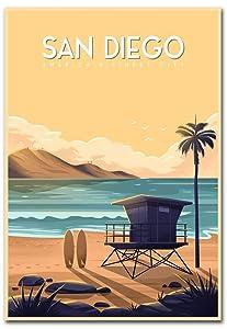 "San Diego California Travel Vintage Art Refrigerator Magnet Size 2.5"" x 3.5"""