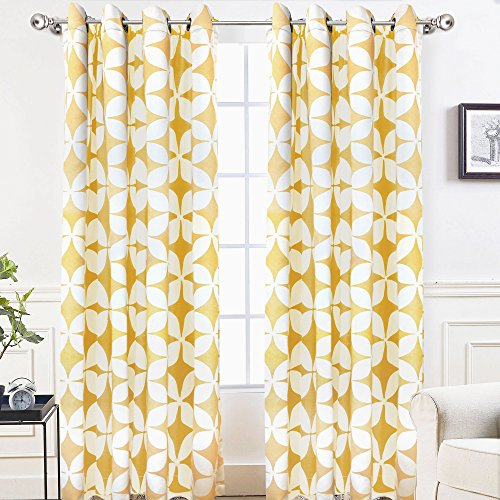 DriftAway Amelia Thermal Blackout/Room Darkening Grommet Window Curtains,Retro Geo Pattern, Round Circle Star Print, Set of Two Panels, each (52