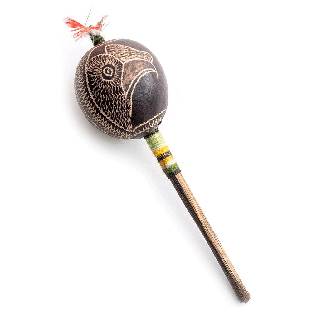 Peruvian Amazon Gourd Rattle - Eagle/Condor Medium (orange size) by Shamans Market