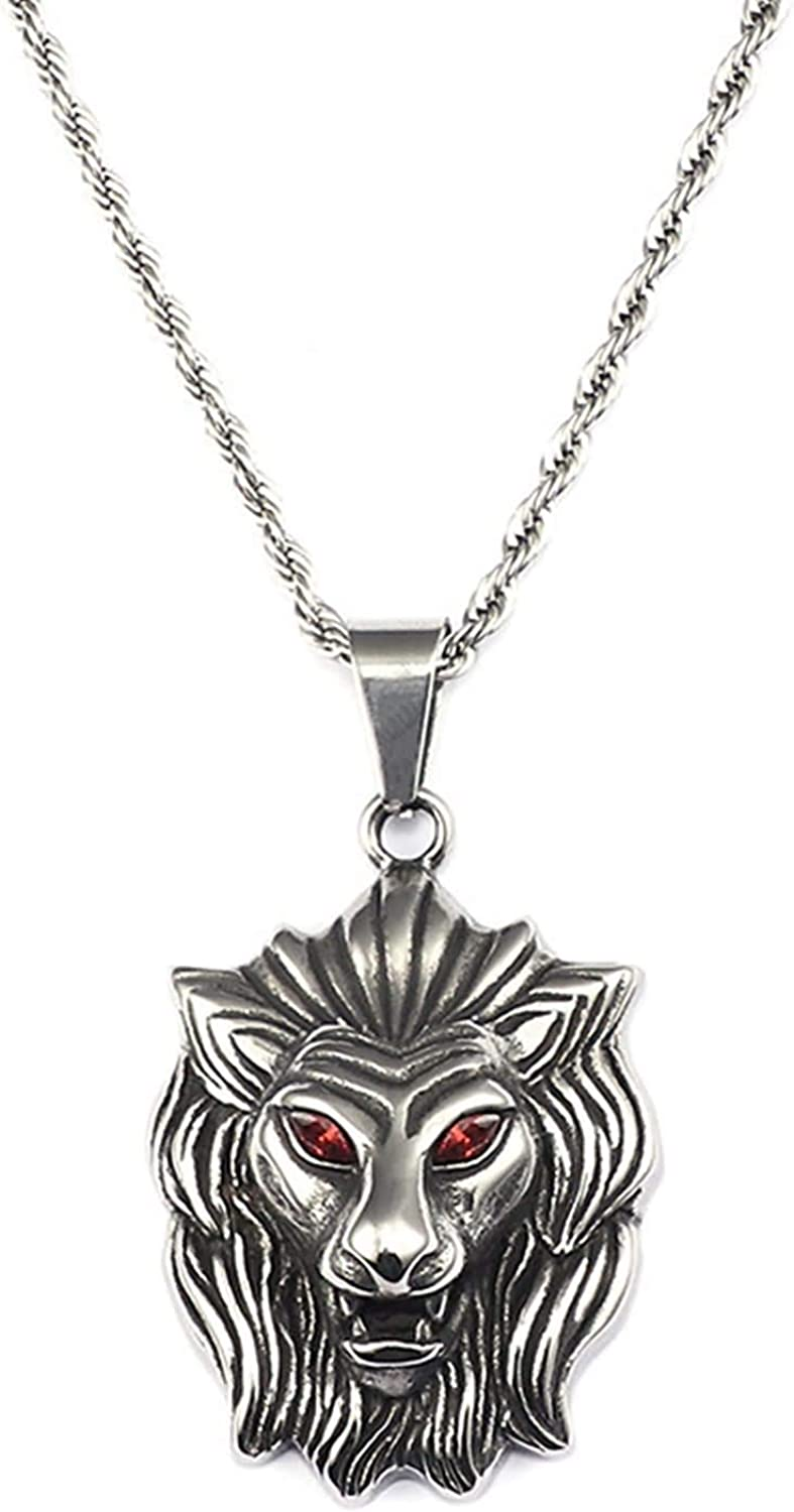 Daesar Pendant Necklace for Men Stainless Steel Lions Head with Red Eye Silver//Gold