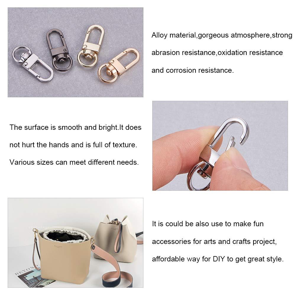 PandaHall Elite 80 pcs Metal Keychain Bulk Including 20 pcs Zinc Alloy Key Chain Swivel Hook 20 pcs Stainless Steel Slide Buckle Triglide 40 pcs Iron D Rings for Handbag Purse Backpack